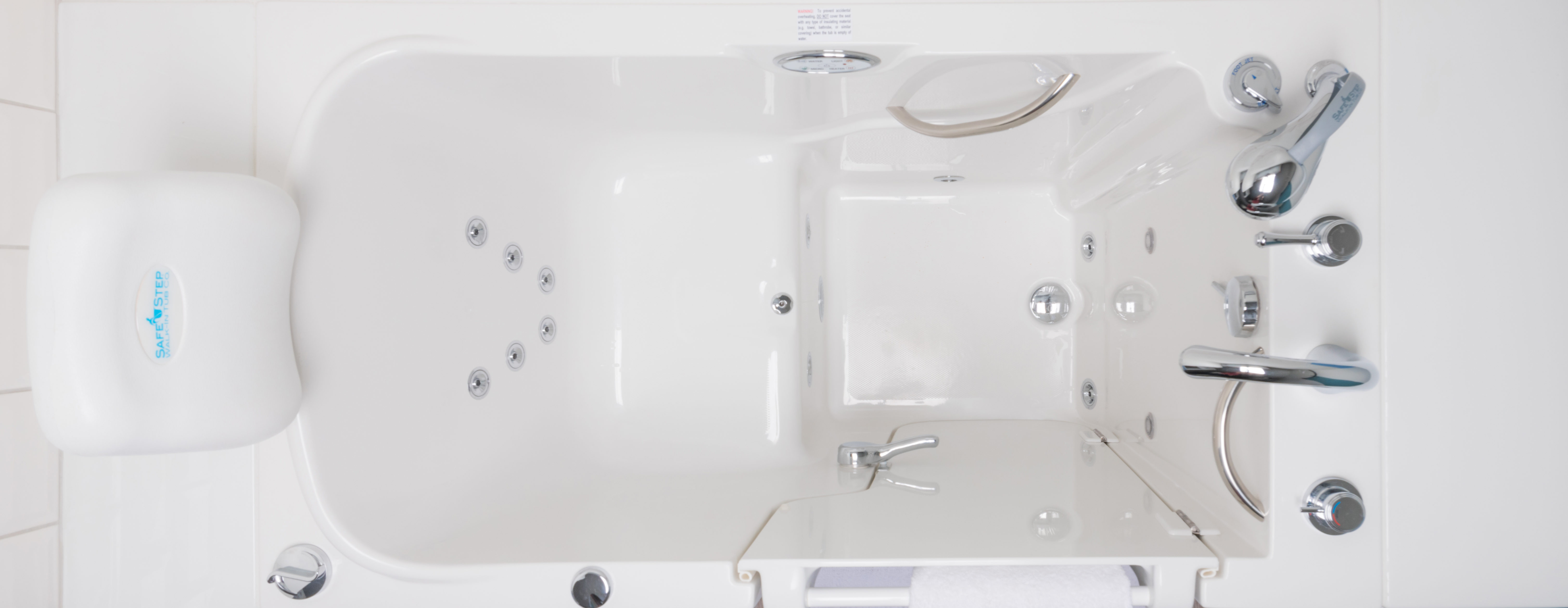Overhead view of an empty Safe Step Walk-In Tub