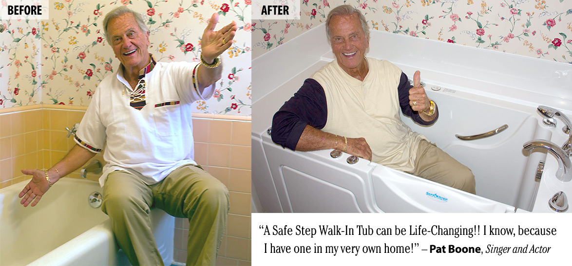 Singer and Actor Pat Boone demonstrating his old bathtub and new walk-in tub