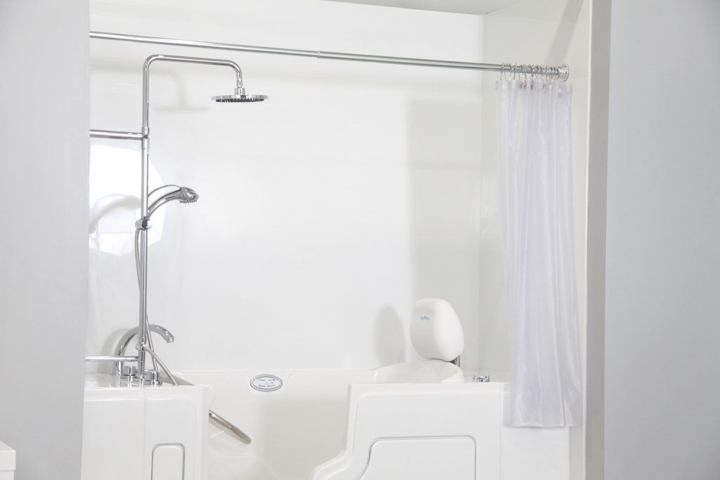 Example of a walk-in safe tub and shower combo