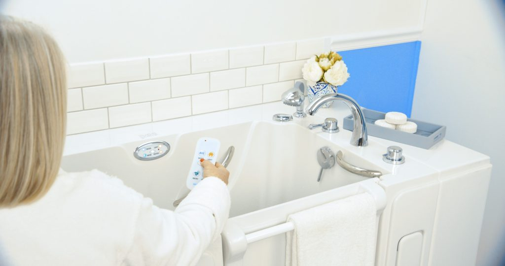 A senior woman demonstrating how a safe-step tub helps with diabetes