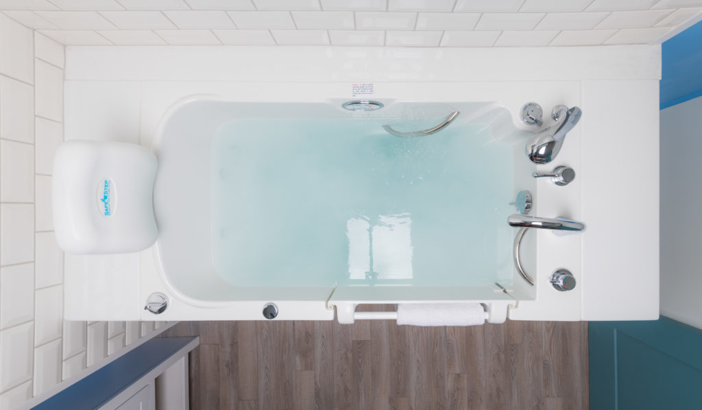 top down view of a white Safe Step walk-in tub filled with water.