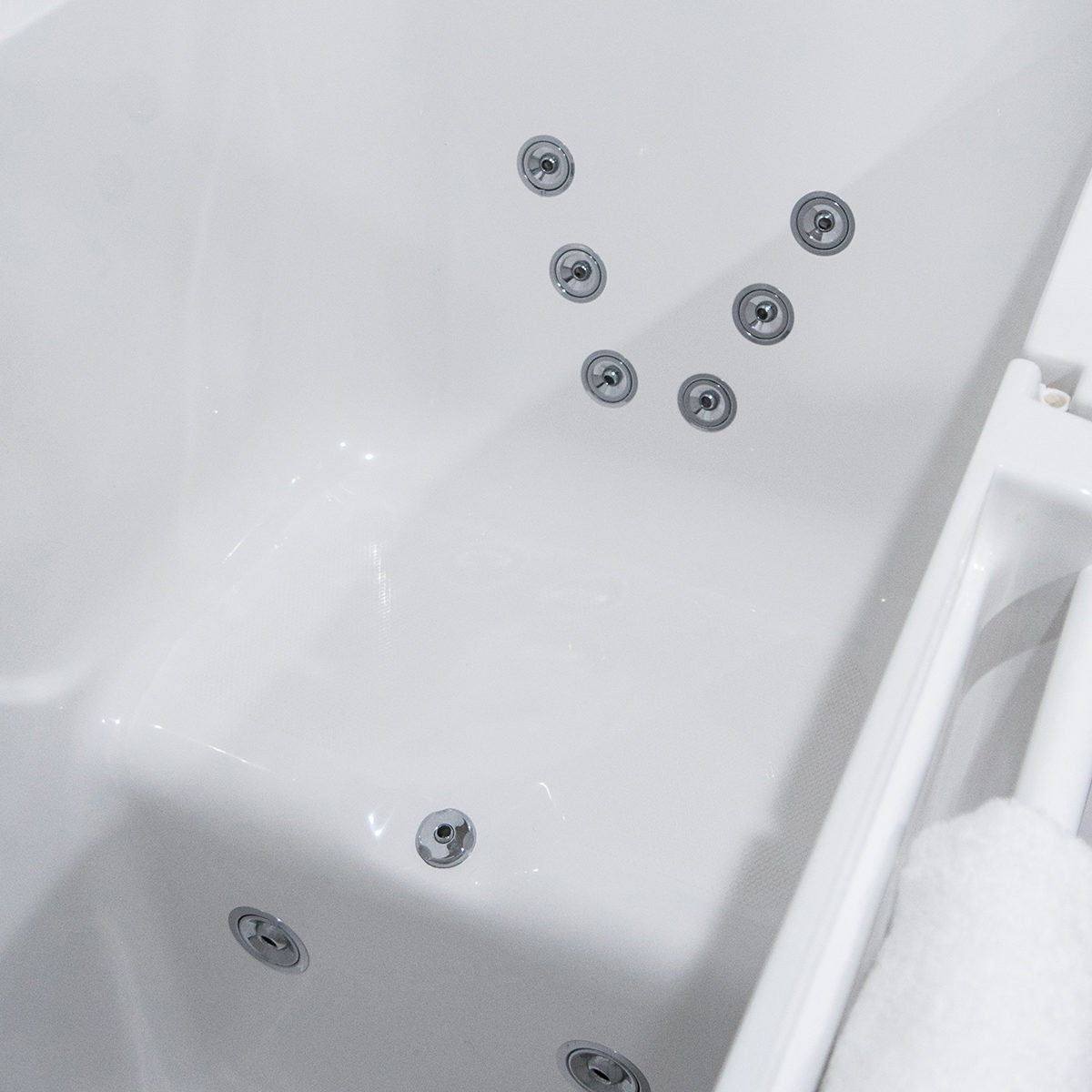 A Walk-in Tubs seat's pressure jets